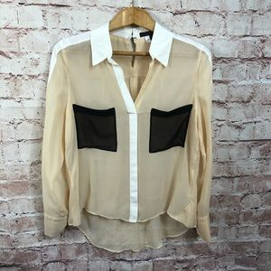 BCBG maxazria 100% Silk Blouse Medium Color Block